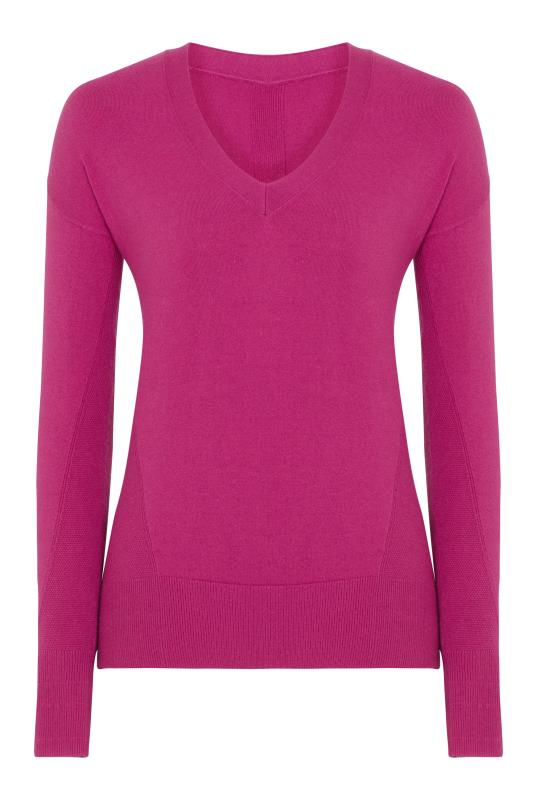 Fuchsia Stitch Detail V Neck Jumper