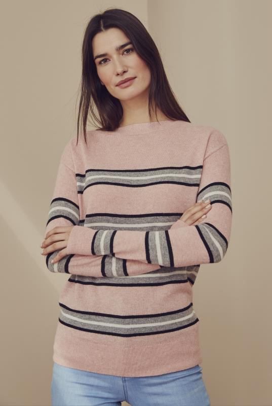Pink Stripe Merino Wool Blend Sweater