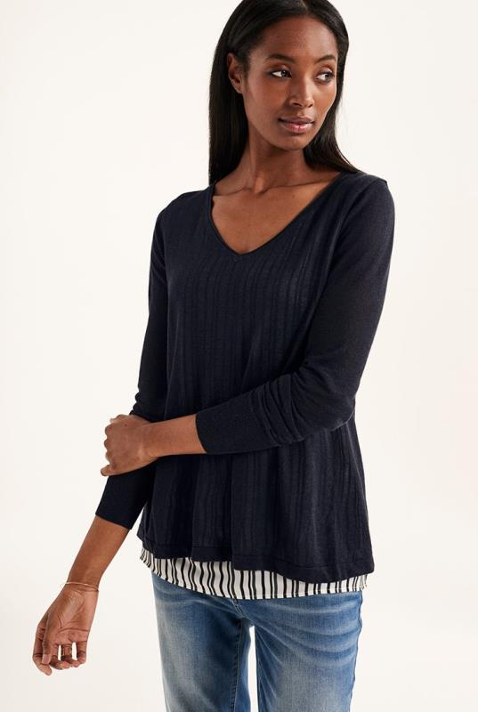 Navy Layer Fabric Sweater