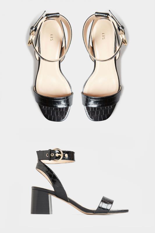 LTS Black Two Part Block Heel Sandals