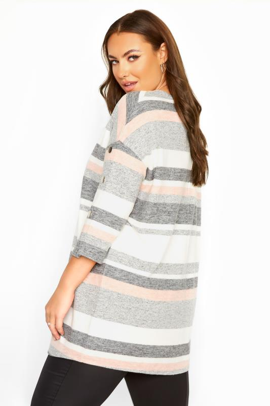 Grey & Pink Mock Button Soft Knitted Top