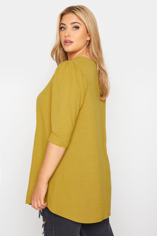 LIMITED COLLECTION Mustard Yellow Puff Sleeve Ribbed Top_C.jpg