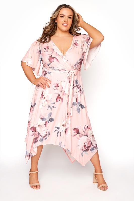 YOURS LONDON Pink Floral Wrap Hanky Hem Dress_B.jpg