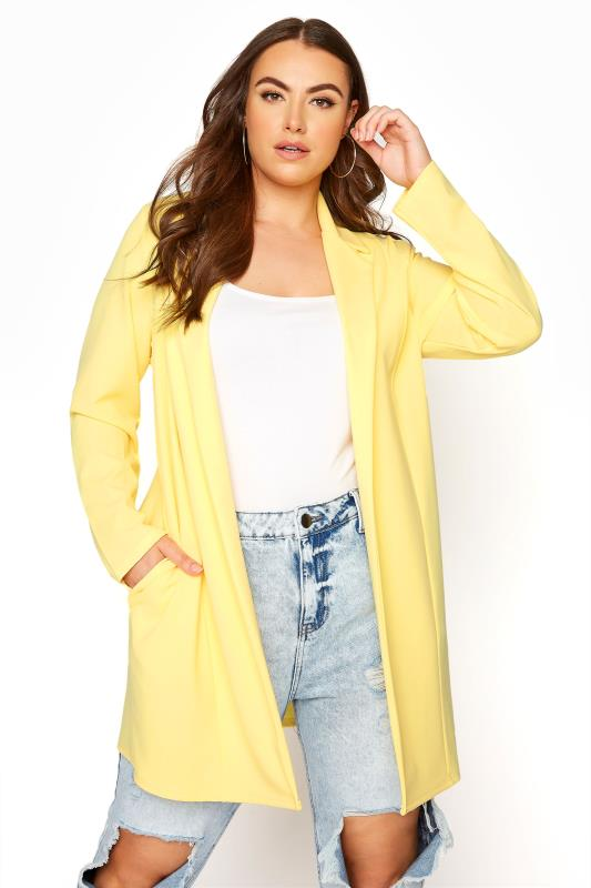 Plus Size  Lemon Yellow Longline Blazer