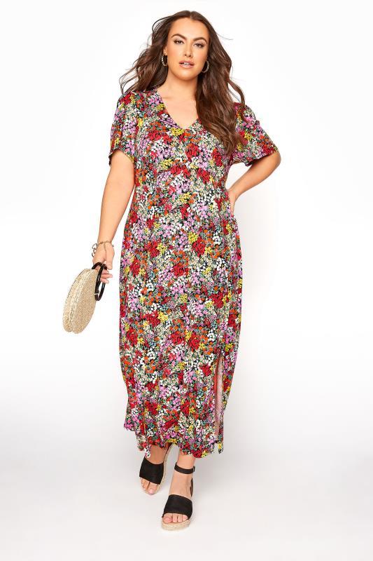 YOURS LONDON Pink Floral V-Neck Tea Dress