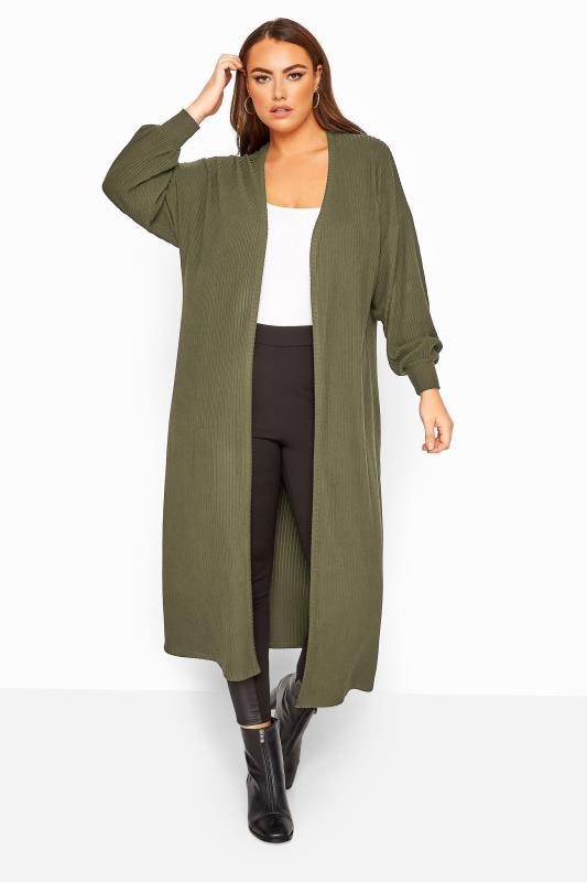 Plus Size Cardigans LIMITED COLLECTION Khaki Balloon Sleeve Brushed Midi Cardigan