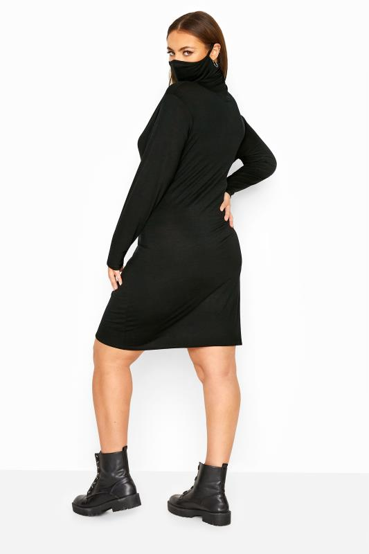 Black Jersey 2 in 1 Mask Bodycon Dress
