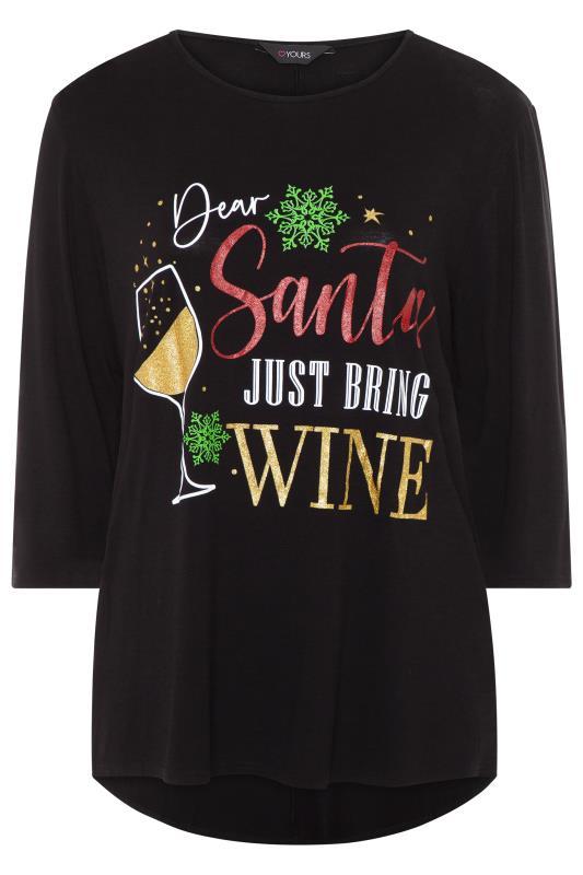Black Glitter 'Dear Santa' Slogan Dipped Hem Top
