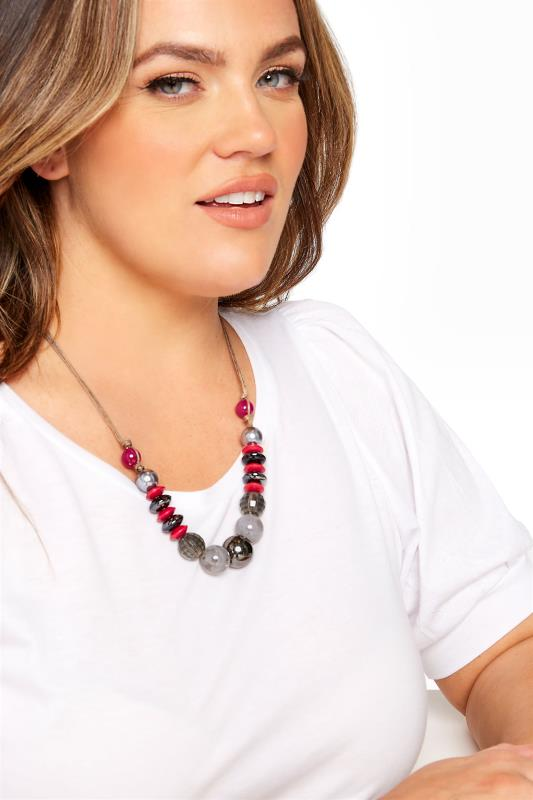 Plus Size  Grey Beaded Necklace