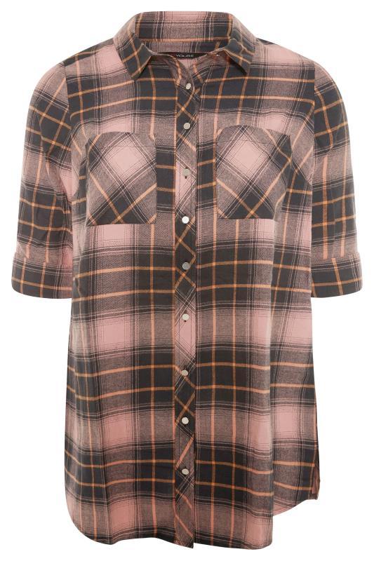 Orange Check Cotton Boyfriend Shirt_F.jpg