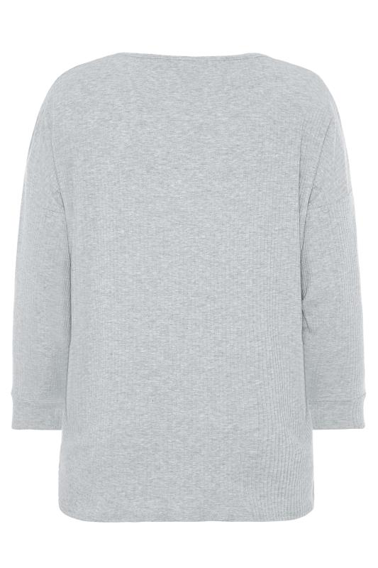 Grey Marl Ribbed Co-ord Lounge Top