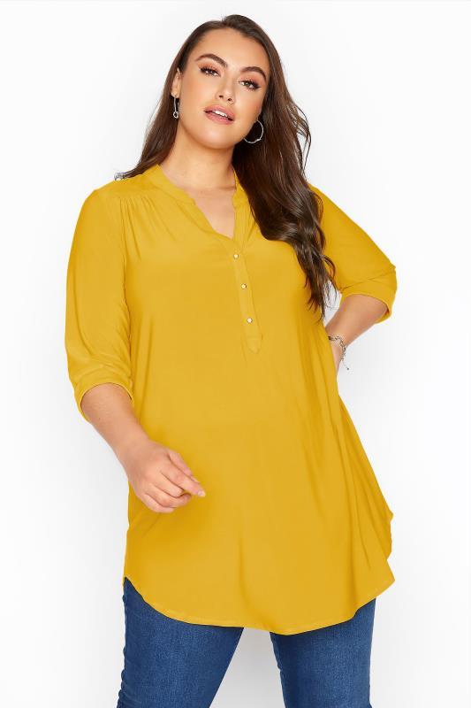 Plus Size  Mustard Yellow Slinky Jersey Shirt