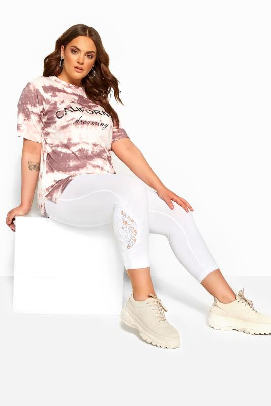 Plus Size Cropped & Short Leggings White Lace Embroidered Cropped Leggings