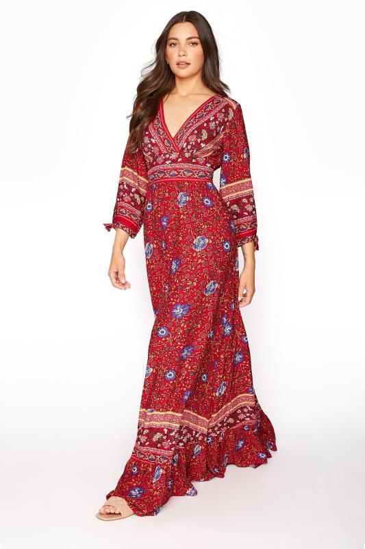 LTS Red Floral Frill Boho Maxi Dress