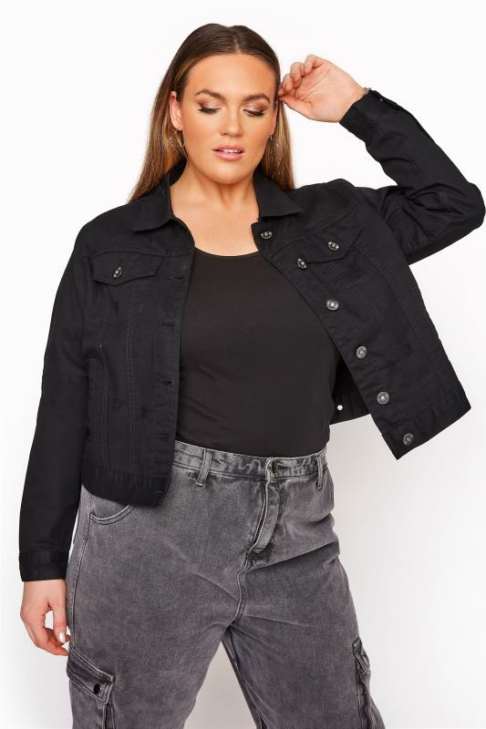 Plus Size  Black Distressed Denim Jacket