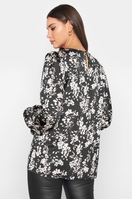 LTS Black Floral Print Balloon Sleeve Chiffon Blouse_C.jpg