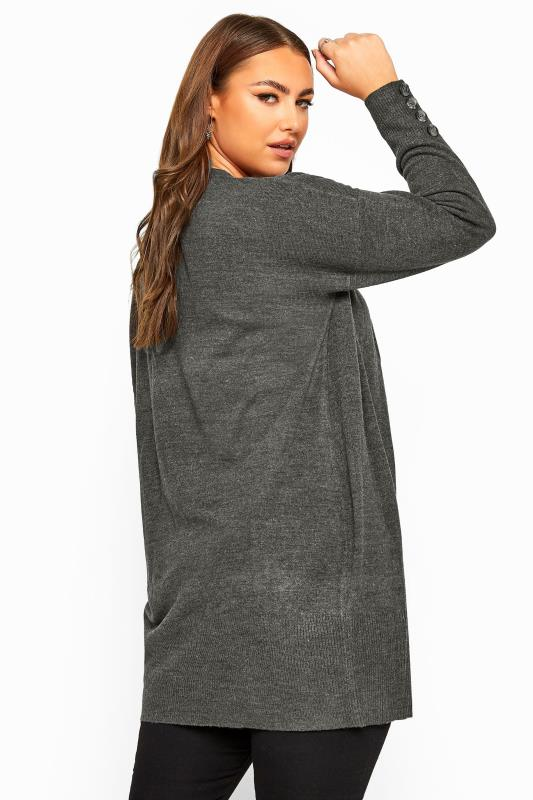 Plus Size Cardigans Charcoal Grey Horn Button Cuff Knitted Cardigan