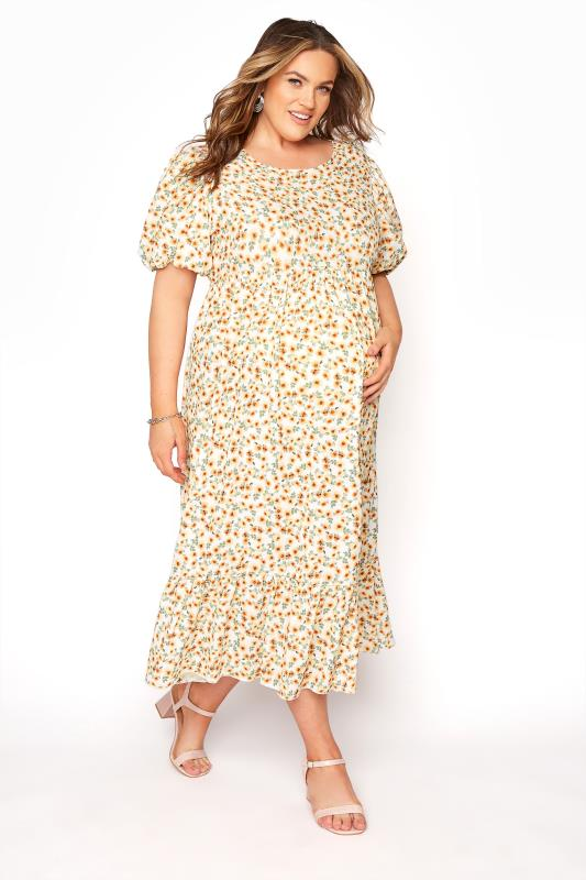 Plus Size  BUMP IT UP MATERNITY Ivory Floral Puff Sleeve Smock Dress