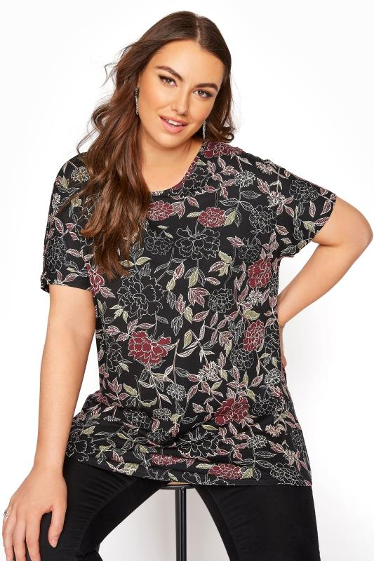 Black Floral Grown on Sleeve T-Shirt