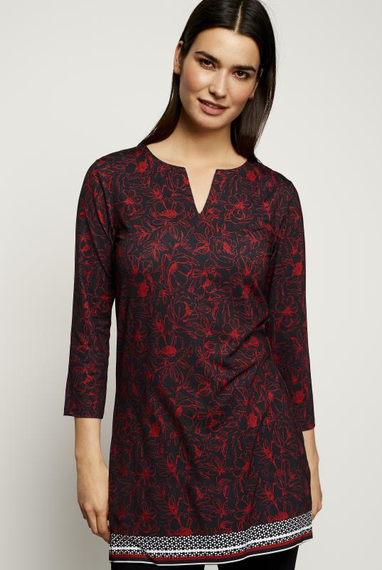 Red Printed 3/4 Sleeve Tunic
