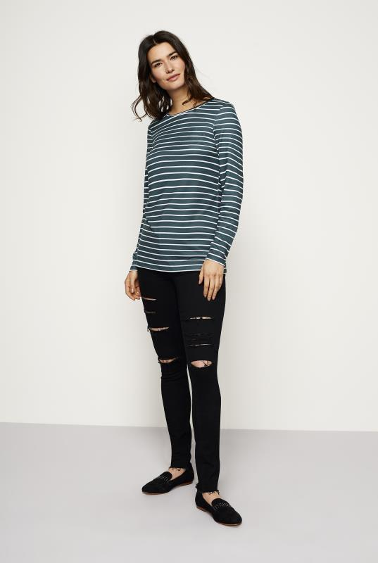 The Striped Long Sleeve Cotton Stretch Tee
