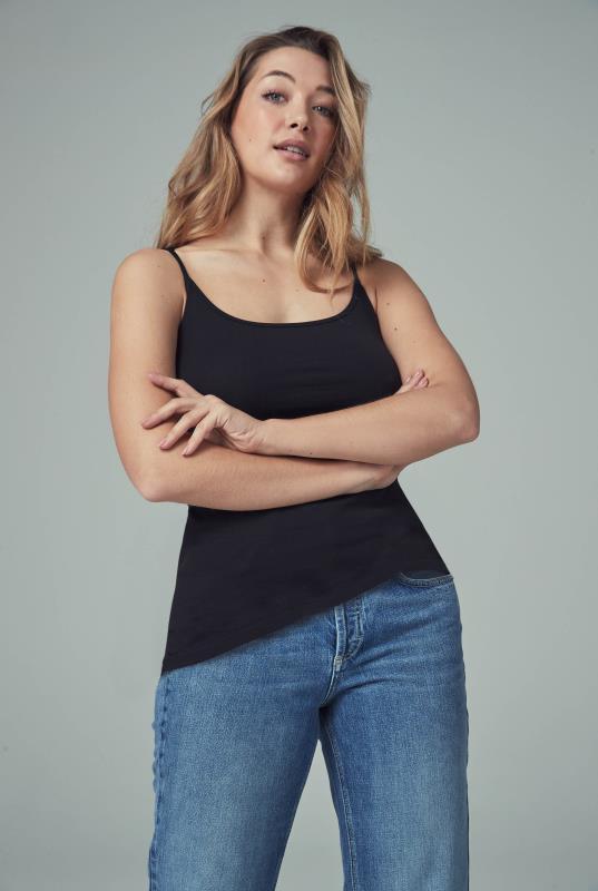 Tall Vests & Camisoles Black Cotton Cami Top