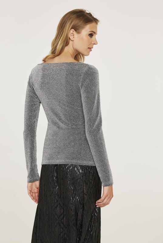 Shimmer Wrap Front Top