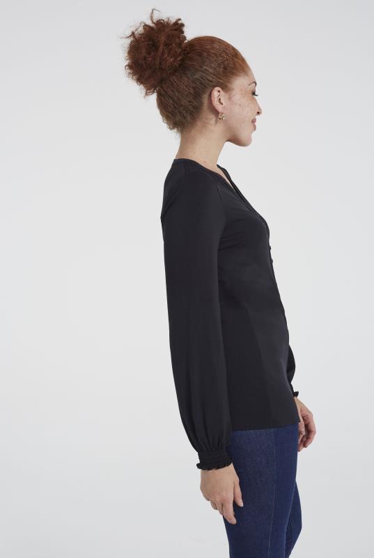 Black Printed Shirred Jersey Blouse
