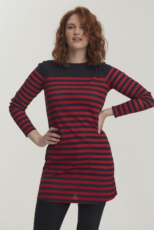 Navy & Red Striped Breton Tunic
