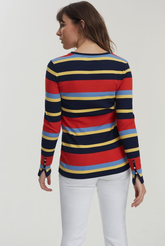 Stripe Ribbed Top With Cuff Detail