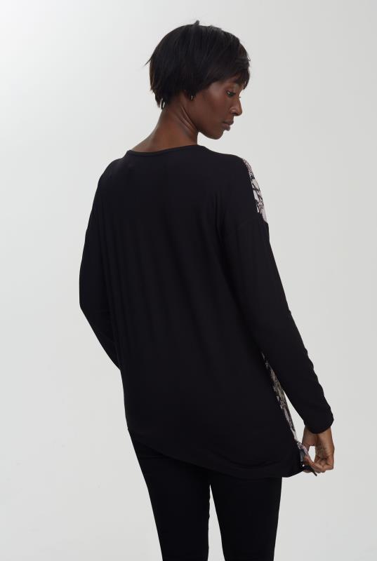 Grey Asymmetric Fabric Mix Top