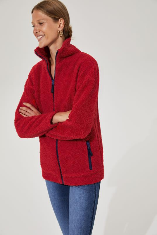 Red Borg Zip Through Jacket