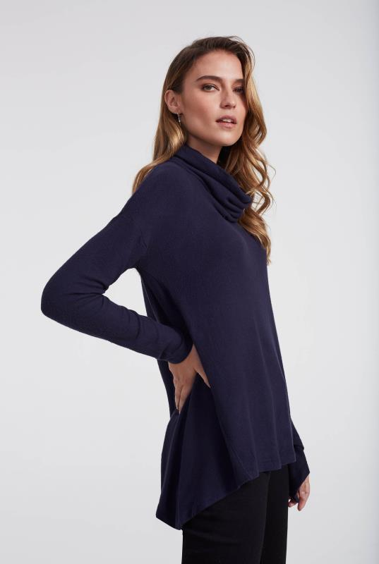 Navy Cowl Neck Top With Hanky Hem