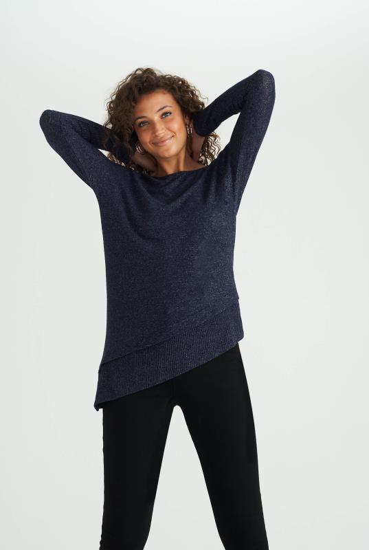 Tall Sweatshirts & Hoodies Navy Asymmetric Ribbed Top