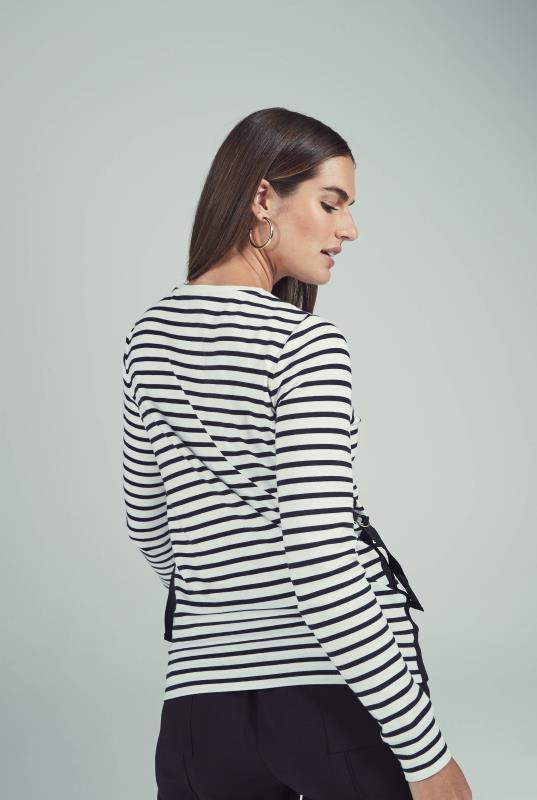 White & Black Stripe Interlock Sweat Top