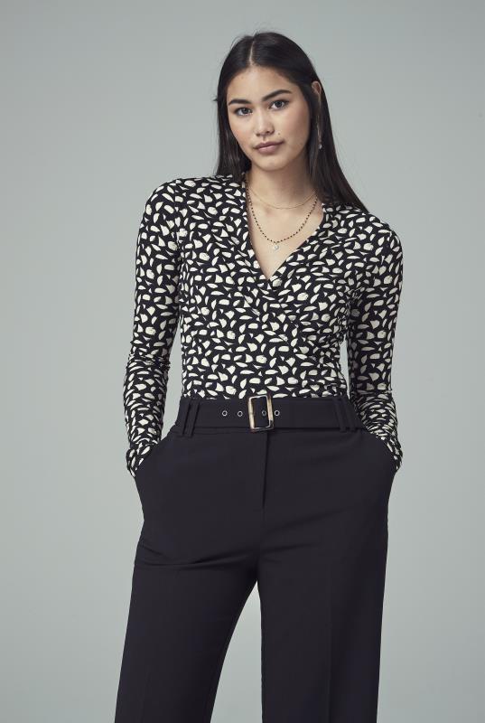Black & Cream Printed Jersey Wrap Top