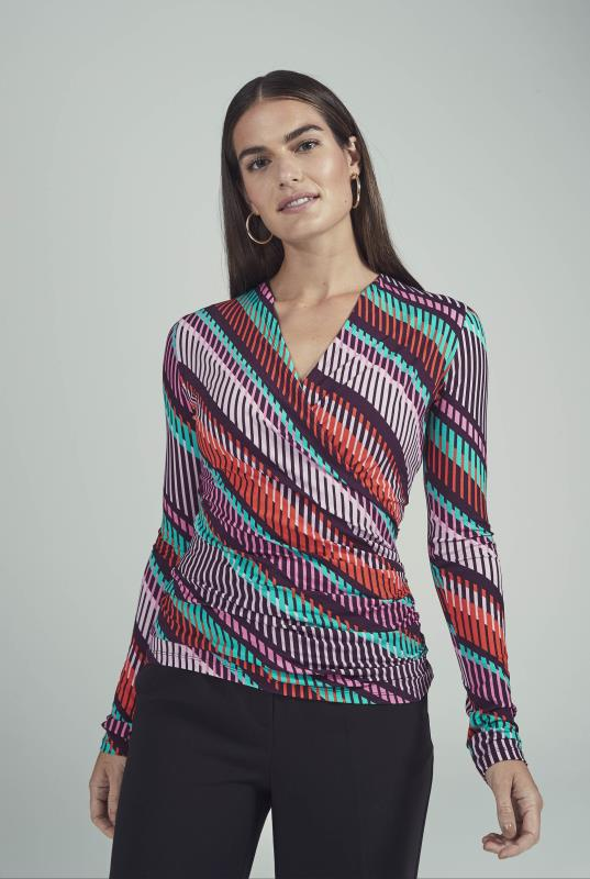 Multi Abstract Stripe Jersey Wrap Top