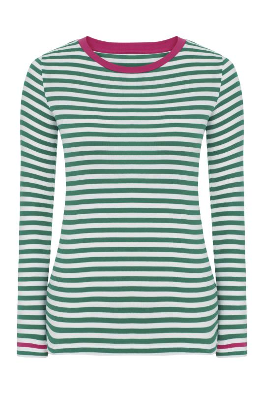 White and Green Long Sleeve T-Shirt