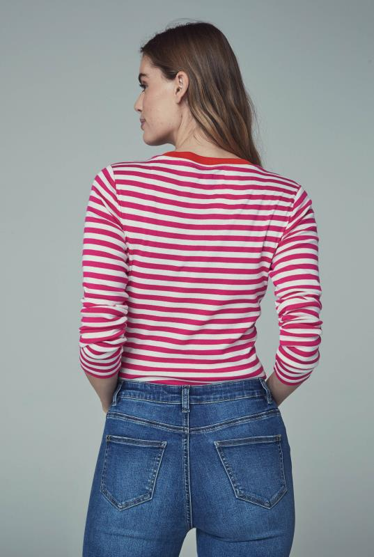 White and Red Stripe T-Shirt