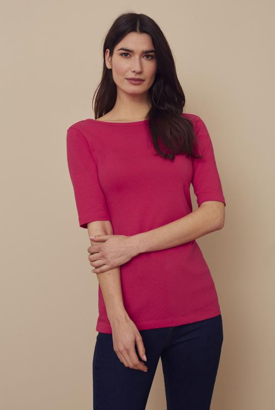 The Elbow Sleeve Cotton Scoop Back Tee