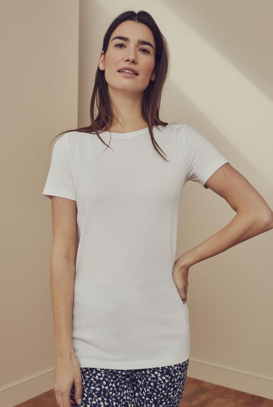 White Cotton Boat Neck Tee