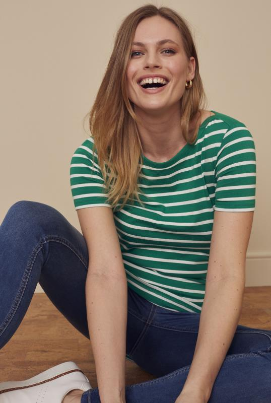 Green and White Stripe Cotton Boat Neck Tee
