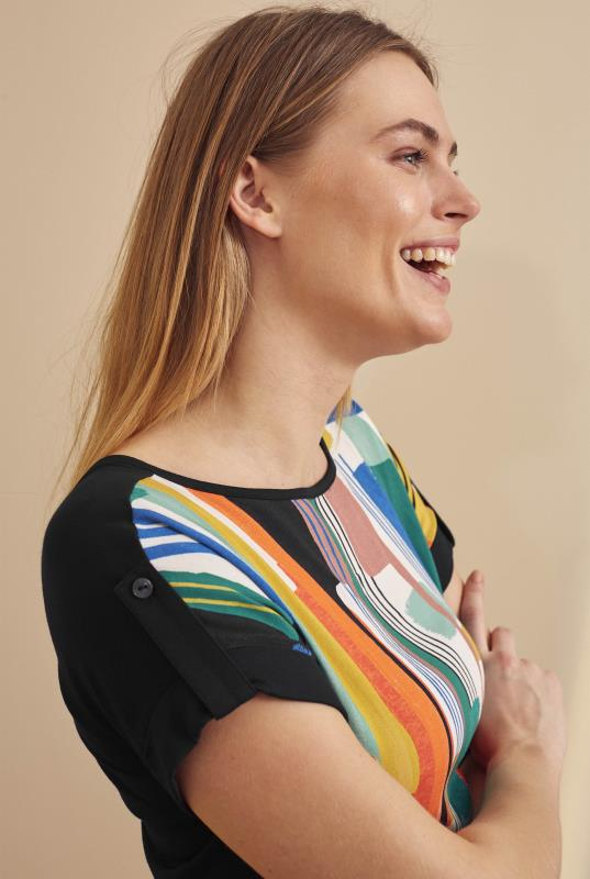 Multi Abstract Print Woven Front Top