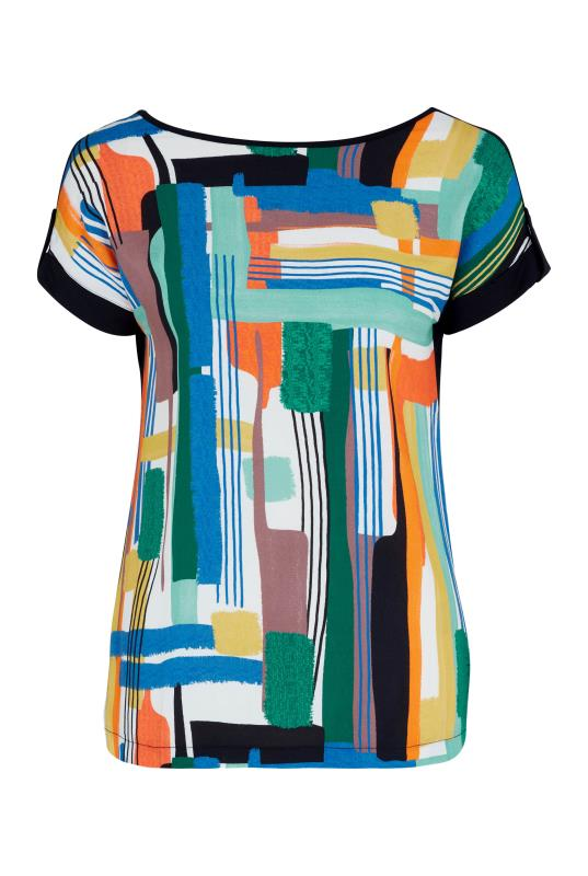 Bright Abstract Print Woven Front Top