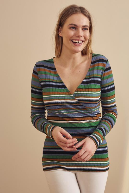 Tall T-Shirts Multi Stripe Rib Wrap Top