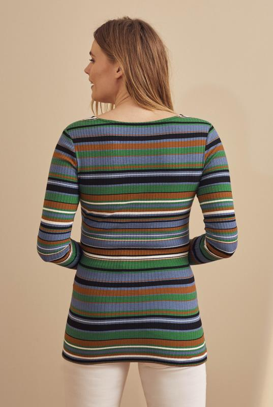 Multi Stripe Rib Wrap Top