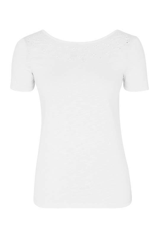 White Broderie Detail Short Sleeve Tee