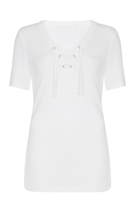 Whtie Tie Detail Ribbed T-Shirt