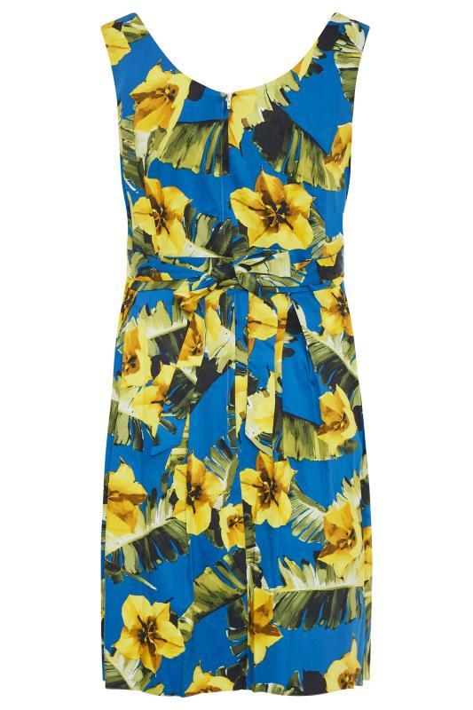 Royal Blue Floral Print Skater Dress_BK.jpg
