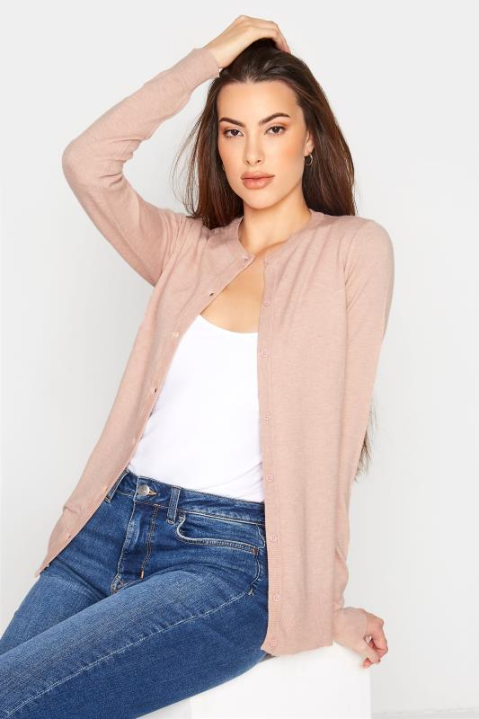 Tall  Pink Knitted Crew Neck Cardigan